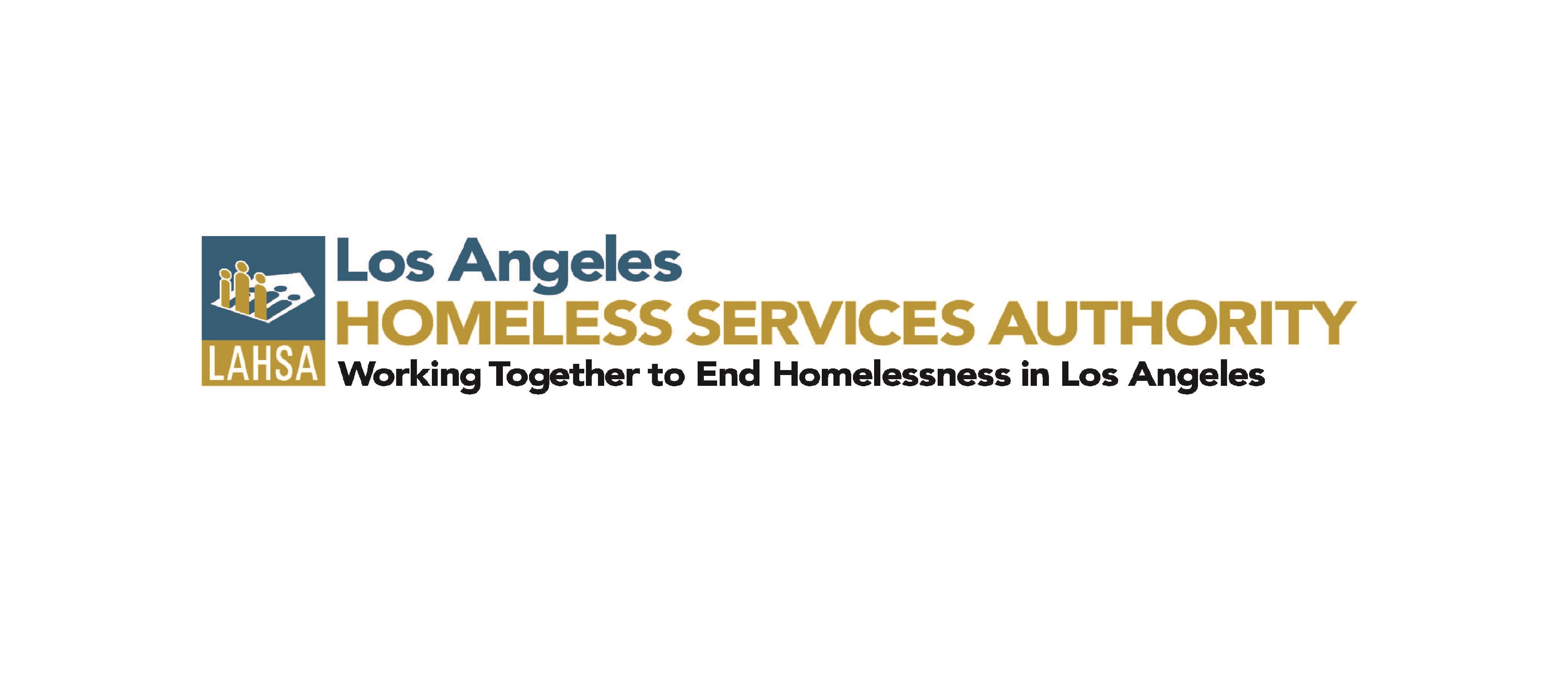Los Angeles Homeless Services Authority in blue, green, and black text with logo to the left
