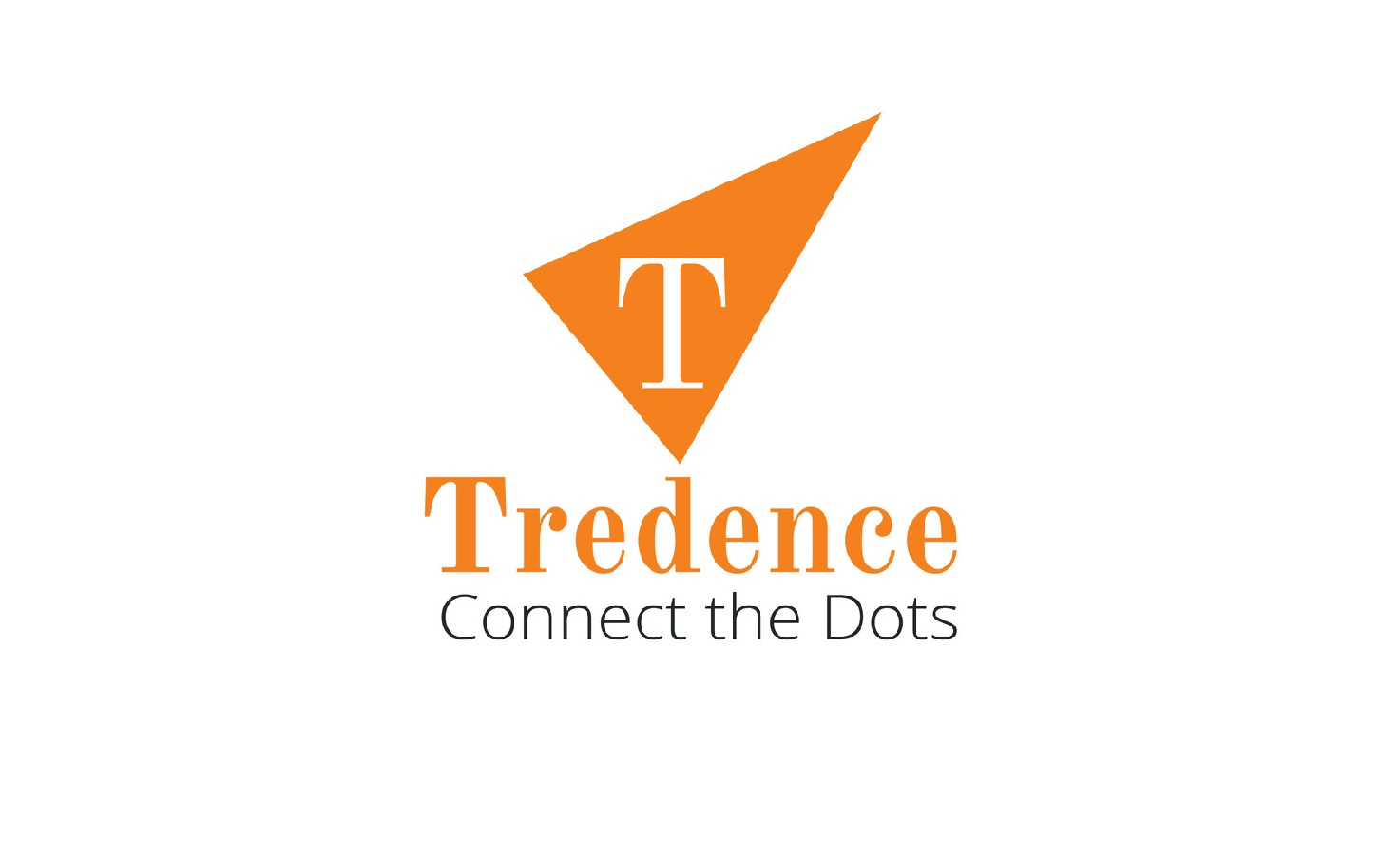 Tredence in orange font with orange logo on top