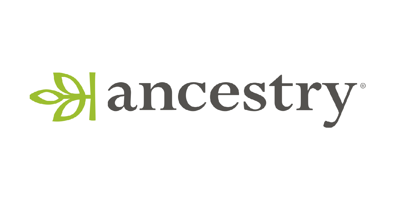 Ancestry logo in black text with green leaf on the left