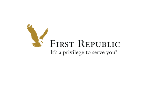 First Republic Bank in black text with gold eagle to the left