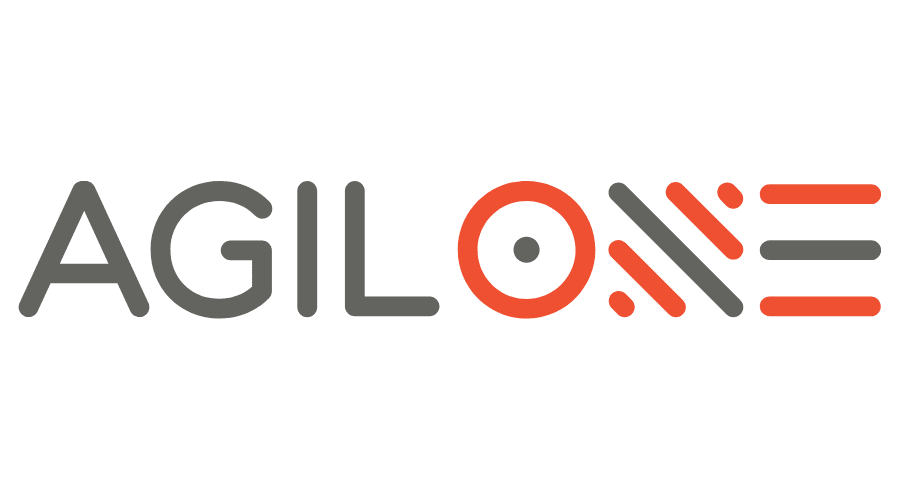 Agilone logo in black and red text