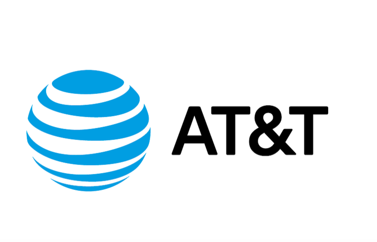 AT&T logo in black text with blue