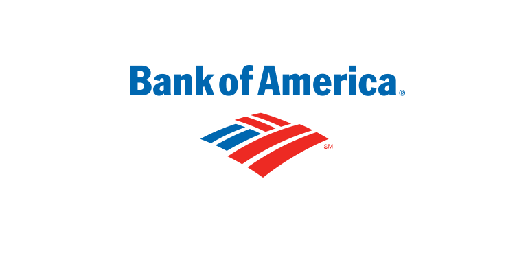 Bank of America text in blue with blue and red logo underneath