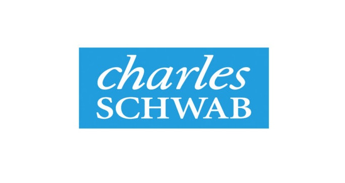 Charles Schwab in white text over blue background