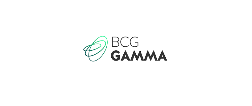 BCG Gamma text in black with green logo to the left