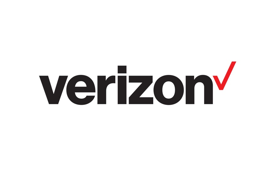 Verizon logo in black with red check to the right