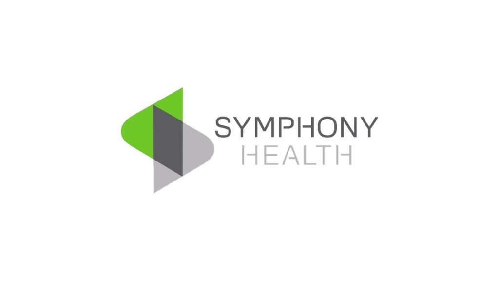 Symphony Health in grey text with grey and green logo to the left