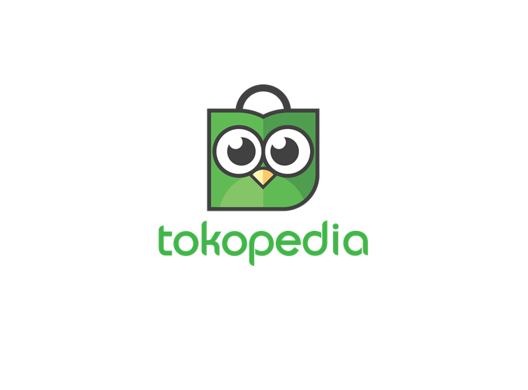 Tokopedia in green text with image of green owl on top