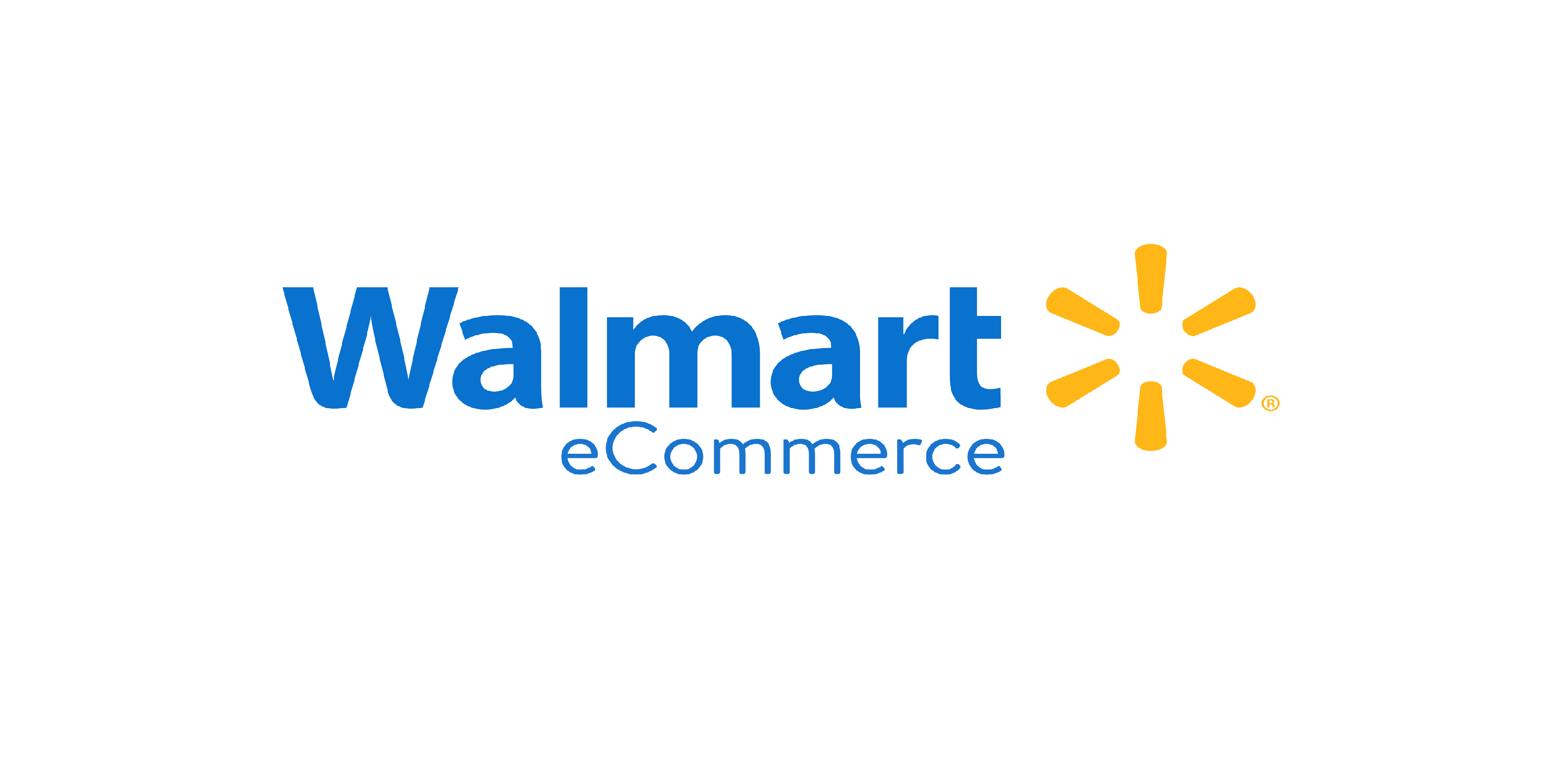 Walmart eCommerce in blue font with yellow logo to the right