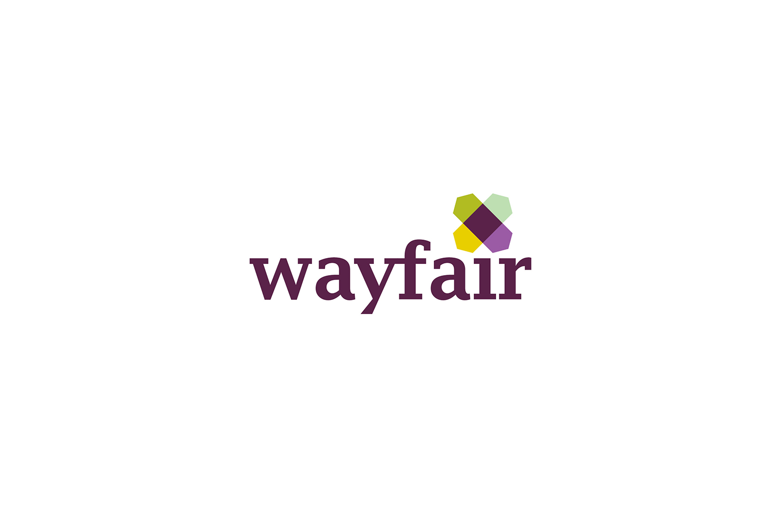Wayfair in purple text with purple, yellow, and green logo on top