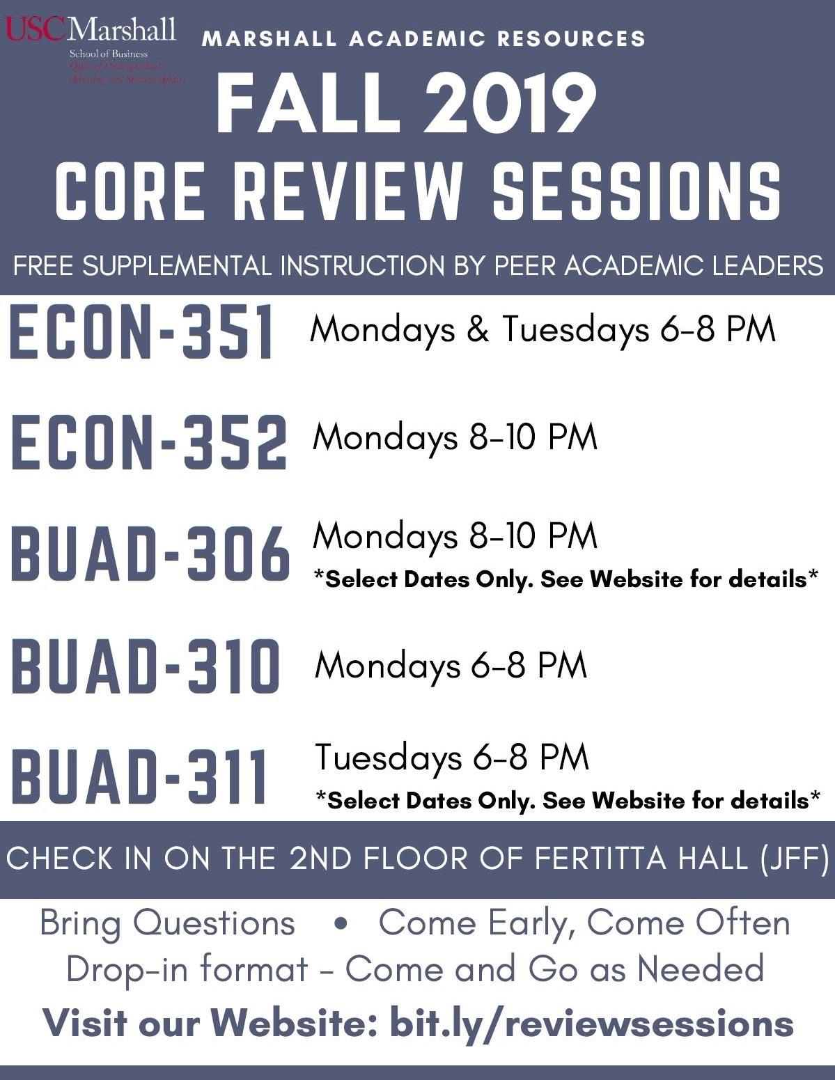 Marshall University Academic Calendar.Core Review Sessions Schedule Usc Marshall