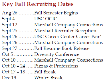 Key Fall Recruiting Dates