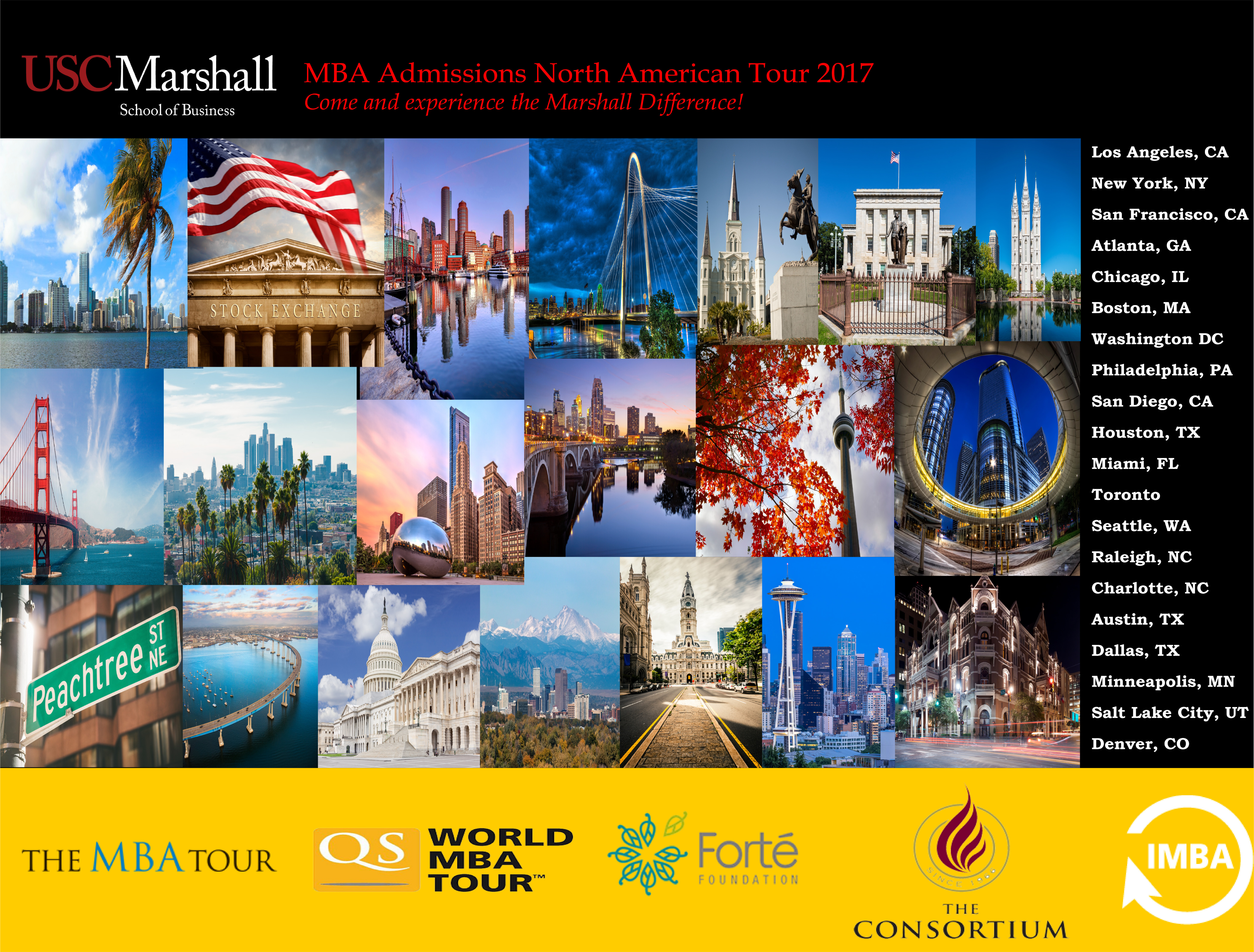 MBA admissions tour cities