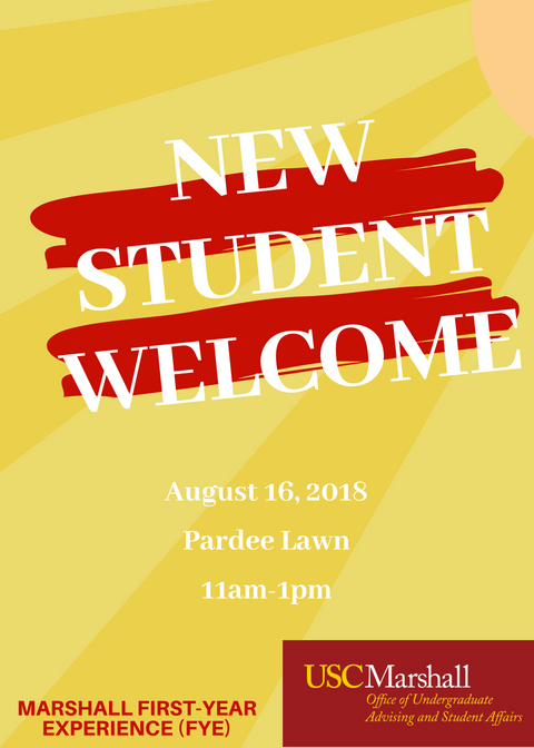 Flyer for New Student Welcome.