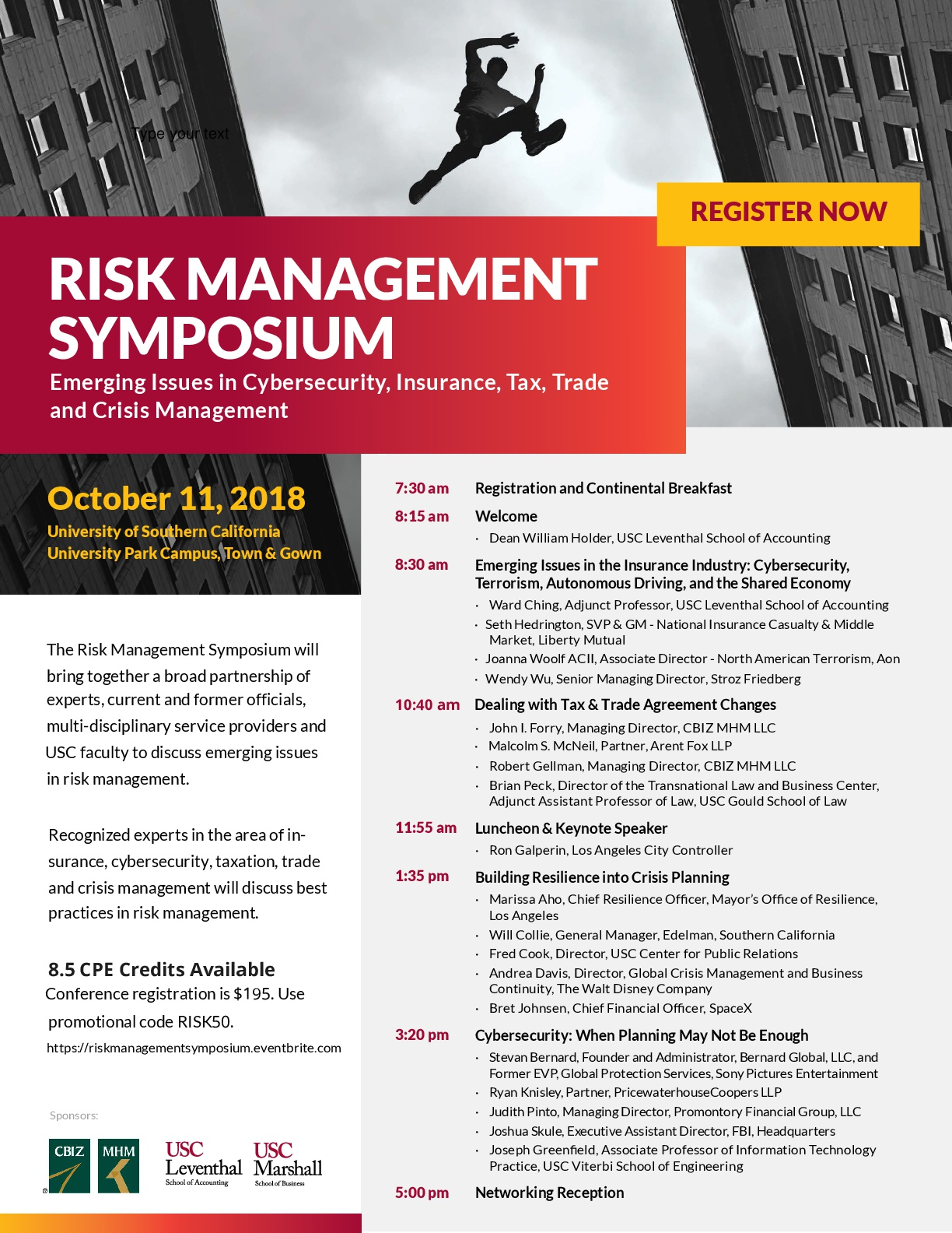 USC CBIZ Risk Management Symposium Agenda Flyer