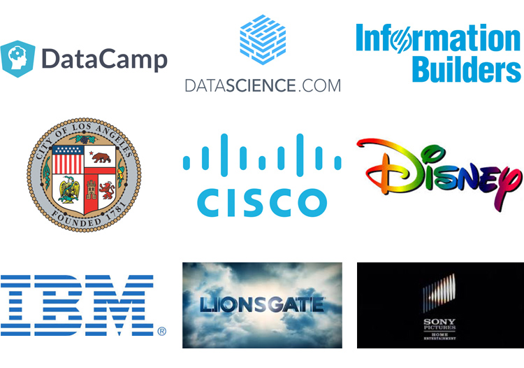 Data Camp, Data Science, Information Builders, City of Los Angeles, Cisco, Disney, IBM, Lioinsgate, and Sony