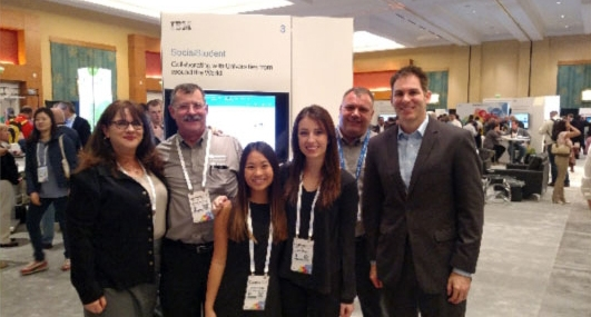 MBree, Jamie and Professor Cardon with the IBM and SocialStudent team.