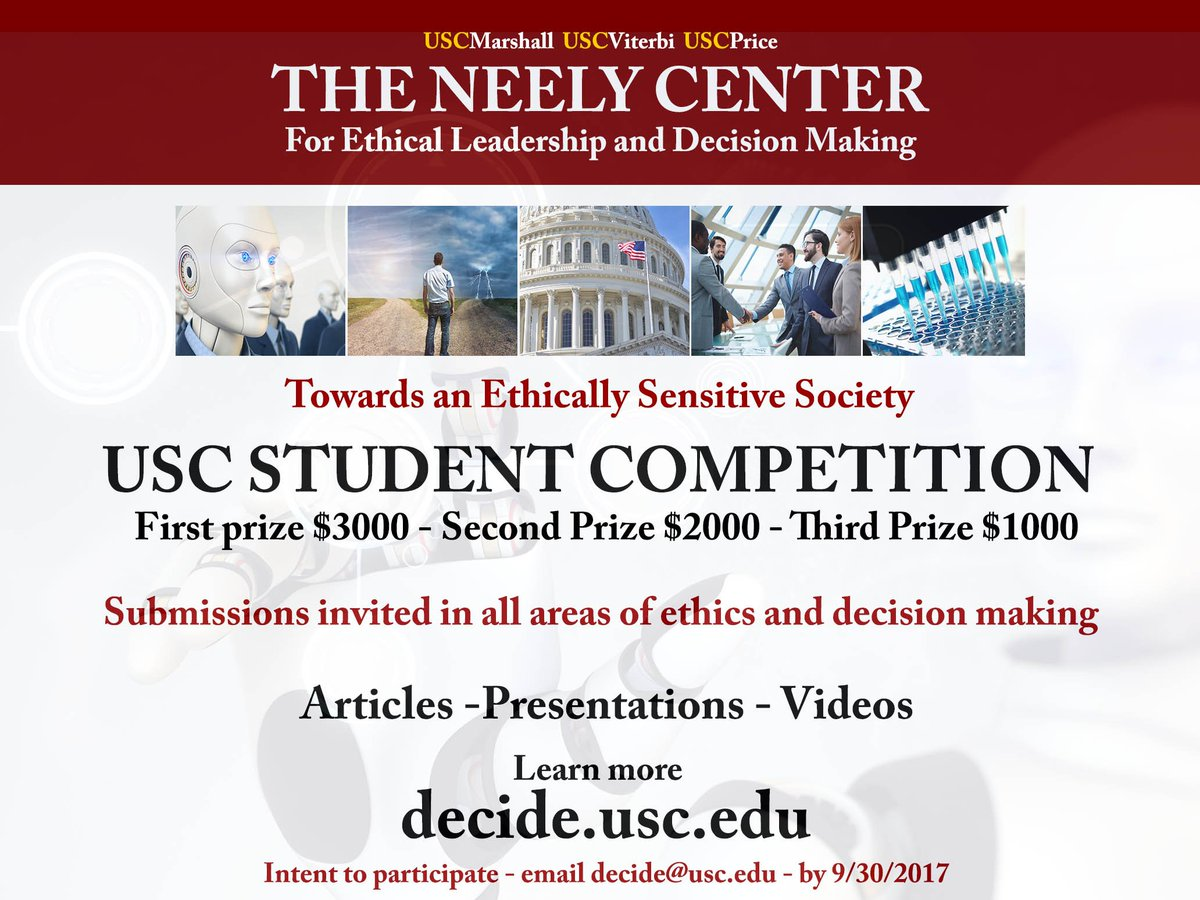 Entering the Neely Center USC Student Ethics Competition Flier